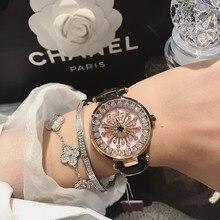 Reloj de lujo de marca de diseñador para mujer, correa de cuero, Diamante único, vestido, resistente al agua, de cuarzo, 2019