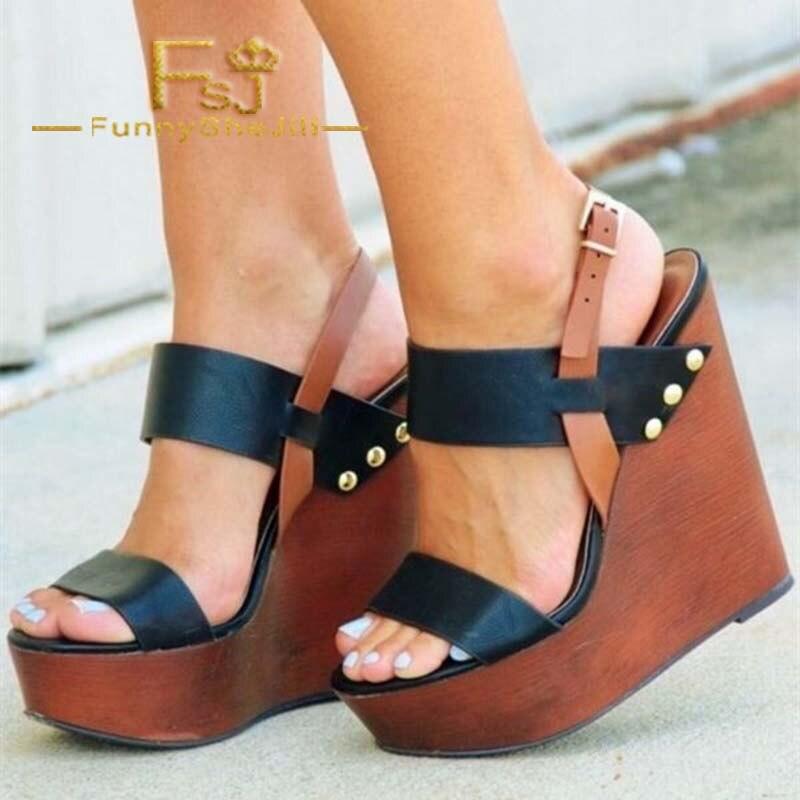 Fsj 4 Plateforme Sandales Rivets Sexy Chaussures De Brun Dame Boucle qMGSLUpzV