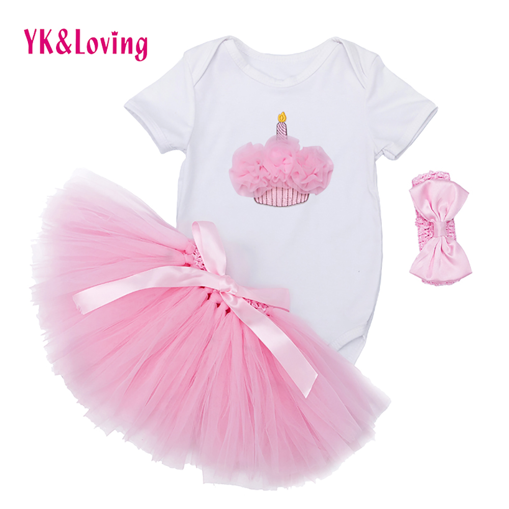 Baby Clothing Sets Girl Whit Long Sleeve Flower Romper + Handmade Skirt 3pcs Princess Bebe 1 First Birthday Girls Party Clothes