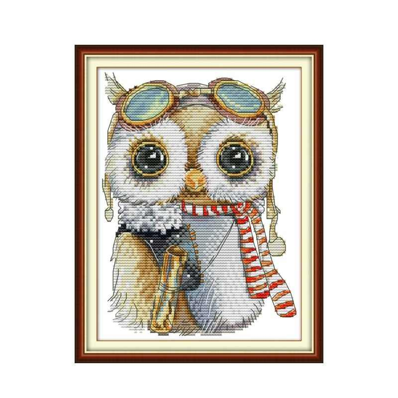 Joy Sunday Cute Owl Cross Stitch 11ct Printed Aida Fabric 14ct Counted Cross Canvas Embroidery DMC Floss Kit DIY Needlework Sets