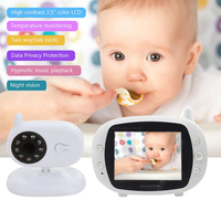 JUNEJOUR Video Baby Monitor Wireless Baby Camera 3.5inch LCD Sreen Baby Sleep Security Baby Care Night Vision Camera Music