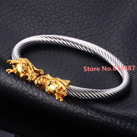 Hotsale Vintage Mens Jewelry Silver Gold 316L Stainless Steel Wire Dragon Cuff Bangles Men Popular Gift