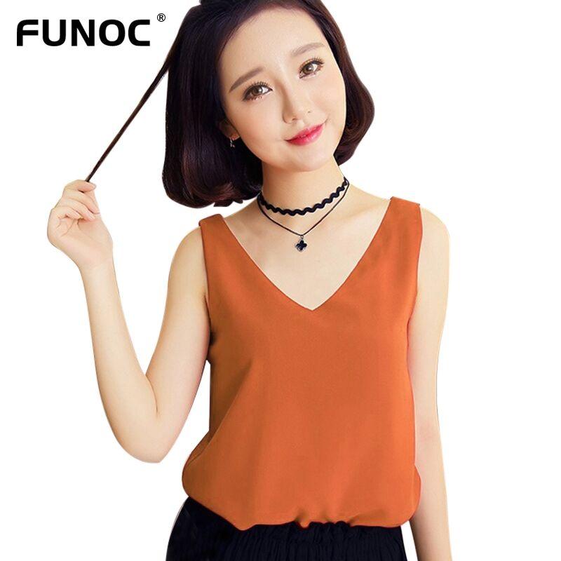 Summer Chiffon Blouse Women Sleeveless Orange Tank Top White Shirts Black Silk Blouse femme 2017 Casual Blouses Red Blusa