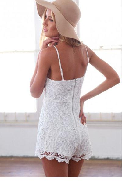 c01b91f3fe20 sexy rompers womens jumpsuit 2017 summer Shorts Women Jumpsuit Macacao  Feminino New Spaghetti Straps White Lace Romper LC6965-in Rompers from  Women s ...