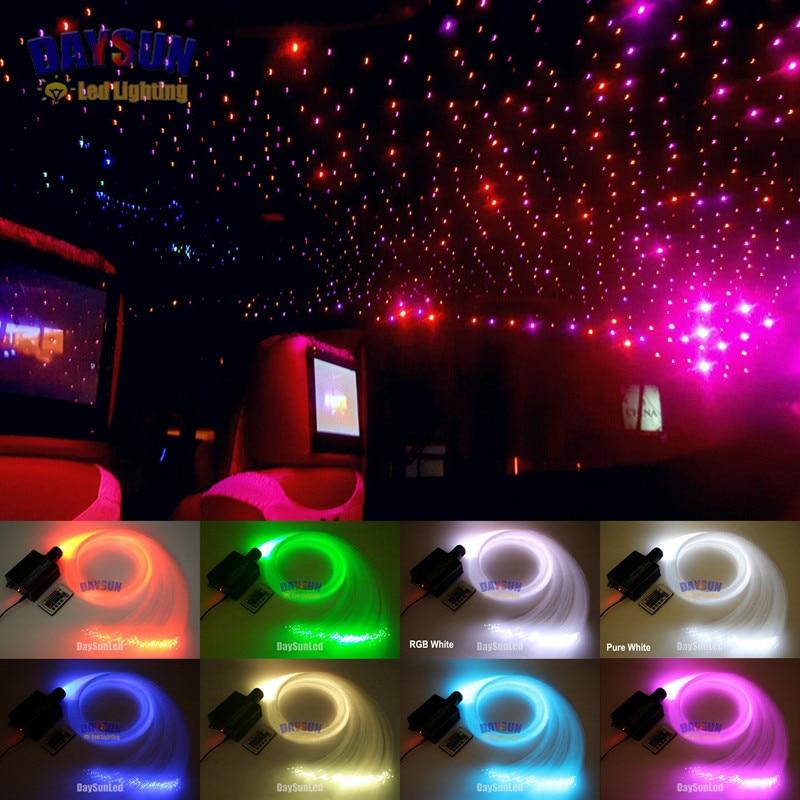 New Car Led Ceiling Fiber Optic Light Kit 16W RGBW Light Source 300pcs 0 75mm 2M