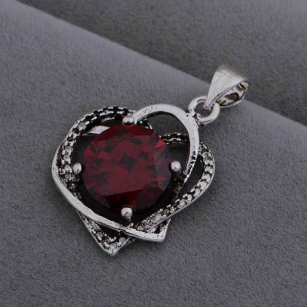 AN1000 Hot 925 sterling silver Necklace 925 silver fashion jewelry pendant double hearts inlaid red stone /hodaqfka bspakjwa