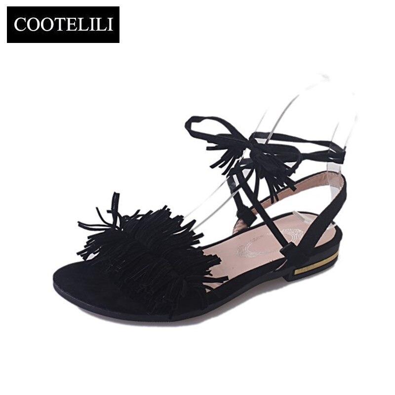 COOTELILI Real Fur Ankle Strap Gladiator Sandals Women Flats 2018 Summer Tassel Shoes Ladies Wedding Beach Sandals BOHEMIAN