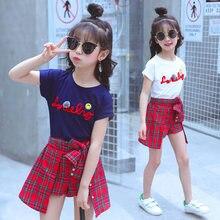 Verão meninas conjunto de roupas de criança roupas de verão meninas boutique outfits camiseta + saia xadrez 2 a 15 anos