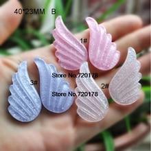 Flatback Resin Glitter Angel Wings Cabochons Kawaii For DIY Embellishments 4023mm 60pcs YZR543B