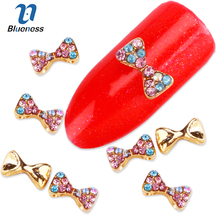 Blueness New Arrive 10Pcs/Lot Halloween 3D Colors Rhinestone Bow-knot Nail Decorations Glitter Drill Nail Studs Accessories DIY