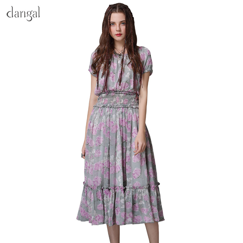 Dangal Summer Elegant Women Dress New A-Line Chiffon Floral Retro Dresses Ruffles Short Sleeve LongVintage Dress Vestidos A82072