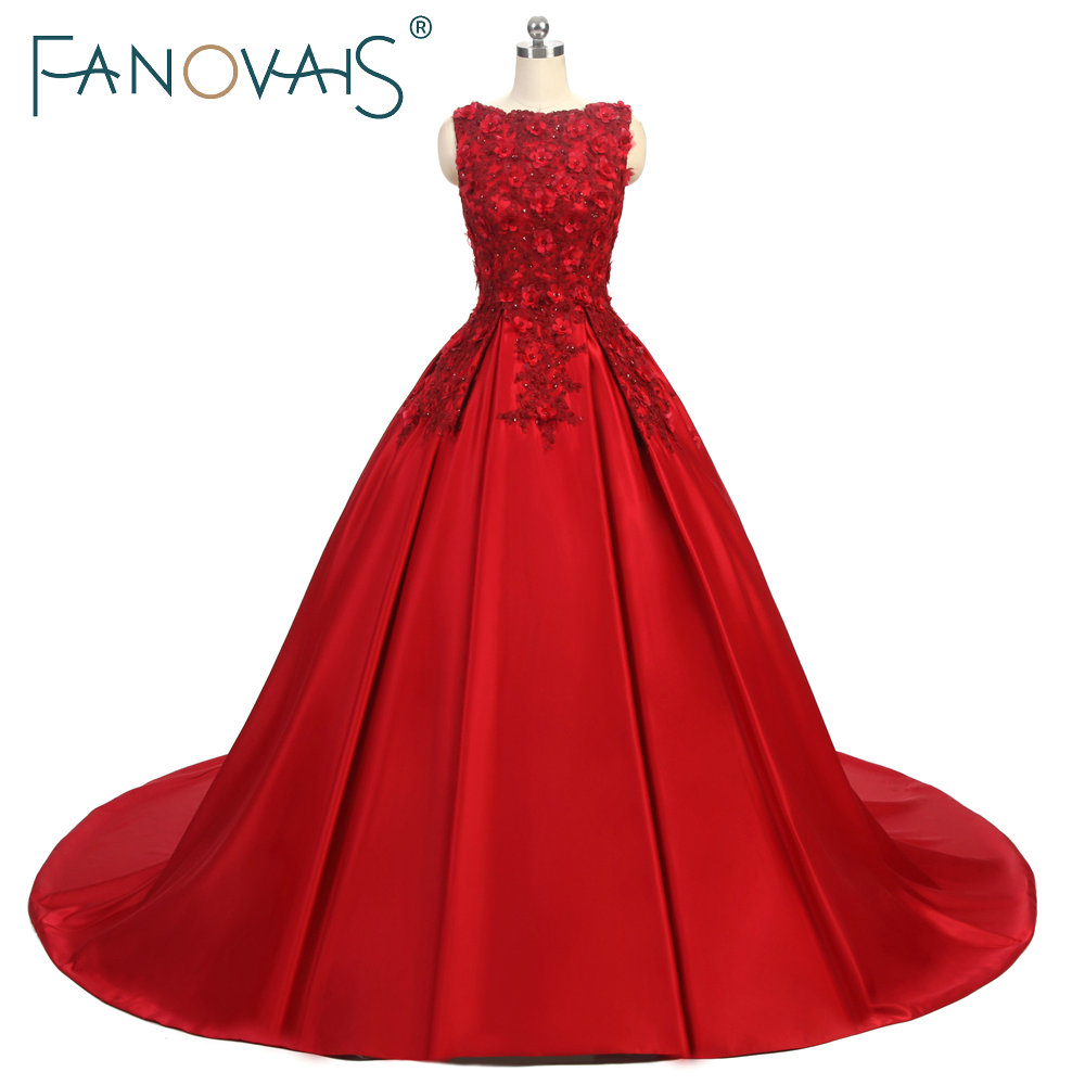 Burgundy Simple Satin Prom Dresses 3D Flower Lace Bead Evening Gowns A Line Special Occasion Dresses 2019 Vintage Vestido fiesta