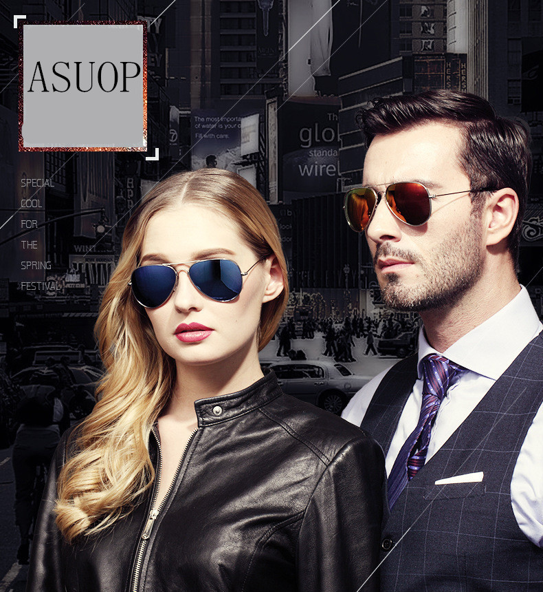 ASUOP2017 new men and women sunglasses pilots glasses high-end brand popular sun glasses goggles UV400 sunglasses sunglasses (1)