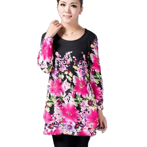 Quinquagenarian t-shirt female long-sleeve plus size  clothing medium-long basic shirt loose spring and autumn