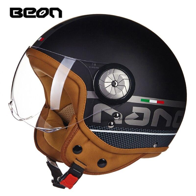 Us 72 49 Beon Motorcycle Helmet 3 4 Open Face Helmet Retro Capacete Motocross Casque Moto Vintage Casco Moto B 110 In Helmets From Automobiles
