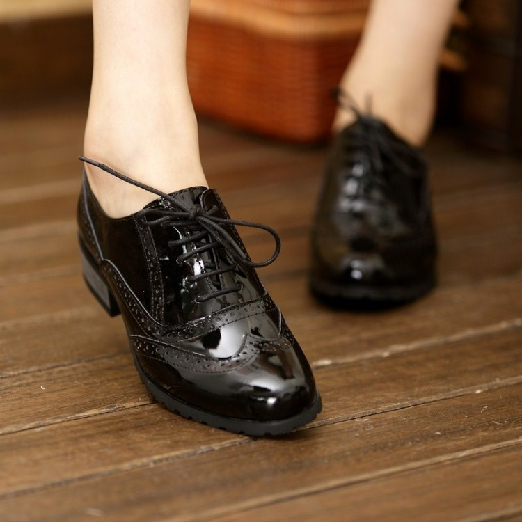 Black Patent Leather Oxford Womens Shoes