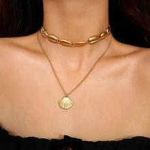 2019 New Bohemian Alloy Shell Pendant Necklace Female National Style Multi-layer Clavicle Chain Choker