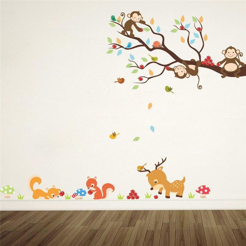 Dessin animé forêt arbre animal singe cerf écureuil stickers muraux pour enfants chambres enfants chambre sticker mural décor à la maison mural