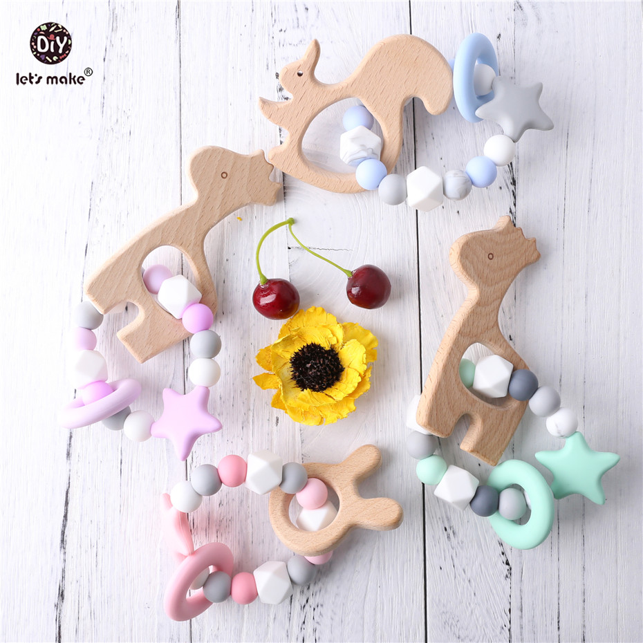 Let's Make Baby Teether 1pc Bracelet Food Grade Giraffe Beech Wood Teether Cute Star BPA Free Silicone Beads Teething Toys Gifts