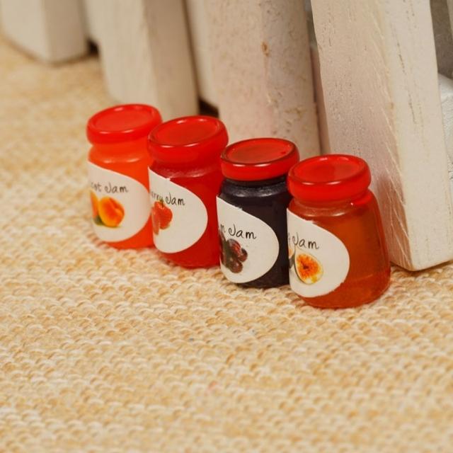 1:12 Miniature Kitchen Jams For Doll House 4 pcs Set