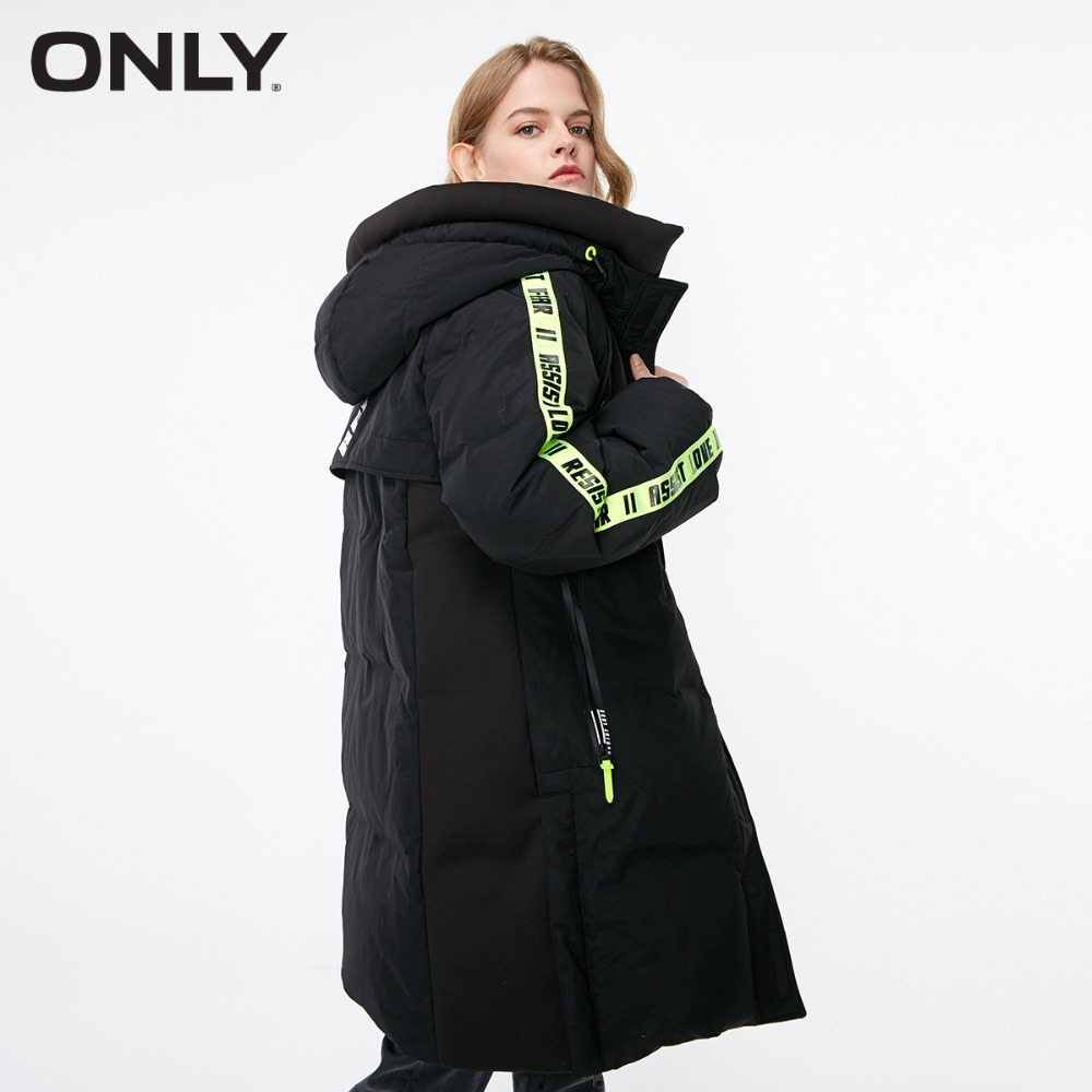 ONLY  Women's Contrasting White Duck Down Long Down Jacket |118312600