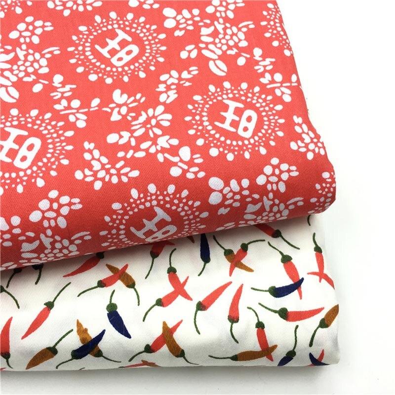 100% Baumwoll-twill Tuch Festlichen Roten Chili Chinesische Wort Wang Stoff Für Diy Krippe Bettwäsche Kissen Bekleidung Quilten Handarbeit Decor QualitäT Und QuantitäT Gesichert