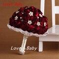 Nova Moda Do Casamento Flores Bouquets de Noiva Artifical Pérola Frisado Broche Silk Rose Flor Noiva Nupcial Buquê de Casamento