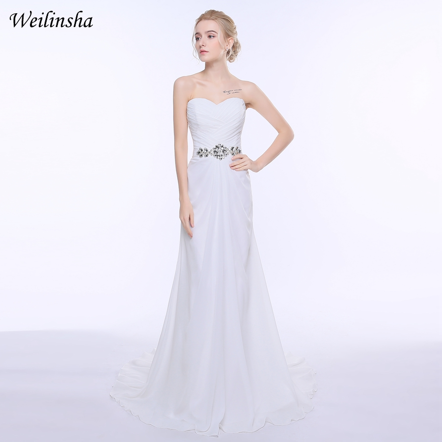 Weilinsha Pakaian Perkahwinan Stok Murah 2018 Beach Chiffon berlian buatan Belt Wedding Gowns Pengantin Plus Saiz Vestido de Noiva