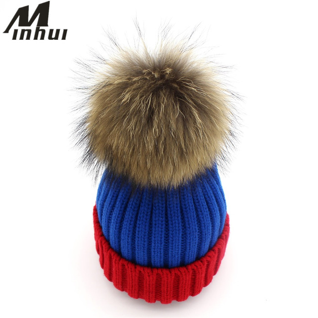Minhui Fashion Patch Knitted Pom Poms Benaies Cap Women Winter Hats Girls Gorro Skullies Real Mink Fur Pompom Hat for Kids