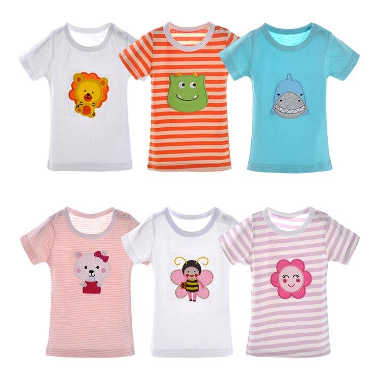 Babykleidung Mädchen Hilfreich 5 Teile/los Baumwolle Baby Top Tees T-shirts Oansatz Kurzarm Baby Tops Kleidung Karton Druck Kinder Jungen Mädchen Kleidung 3-24 Mt