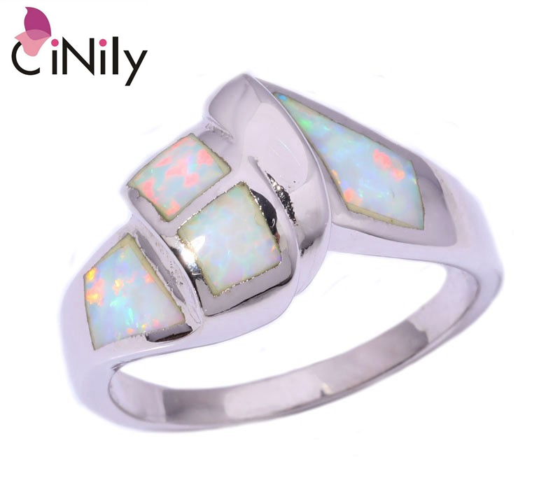 Cinily Fire-Opal Jewelry Ring-Size Silver-Plated White Women for 7/8/Oj8096 Hot-Sell