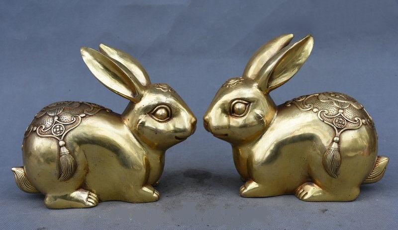 7 China Folk Feng Shui Copper Brass Wealth Year Zodiac Rabbit Lucky Statue Pair         7 China Folk Feng Shui Copper Brass Wealth Year Zodiac Rabbit Lucky Statue Pair