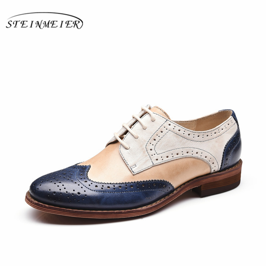 Yinzo Women's Flats Oxford Shoes Perforated  Leather flat oxfords Ladies Brogues Vintage Casual oxford Shoes For Women Footwear