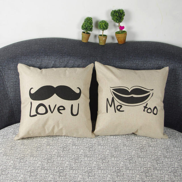 Linen Cotton Love U Mustache Pattern Cushion Covers 43*43 Cm Home Decor  Pillow Case