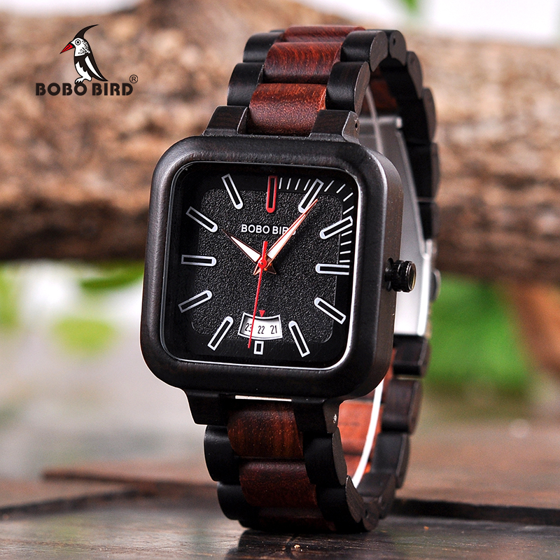 BOBO BIRD Men Watches Wooden Saat erkek Wristwatches Male Japanese movement Square Show Date Gift Cuostom logo in Wood Gift Box