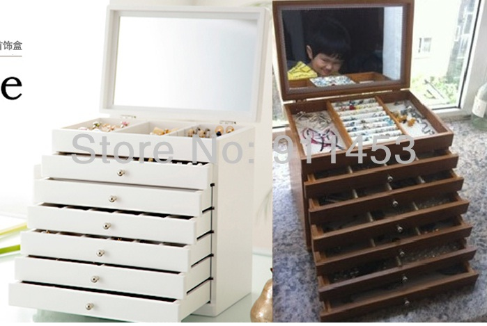 7 layers Luxury Princess Fashion Wooden Large Jewelry Storage