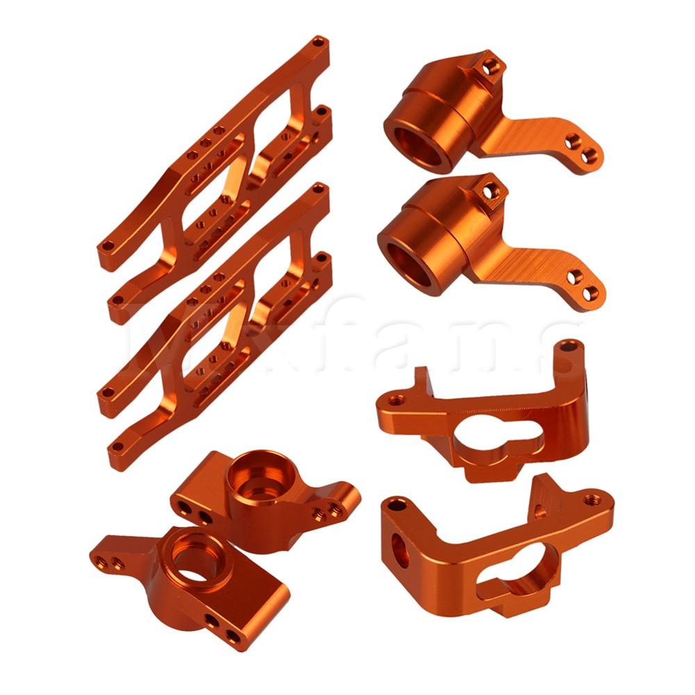 Mxfans 10xOrange RC1:10 Aluminum Alloy Hub Carrier + Rear Suspension Arm for HPI Truck mxfans alloy front rear servo link gold upgrade for hsp rc1 10 truck 106017 set of 2