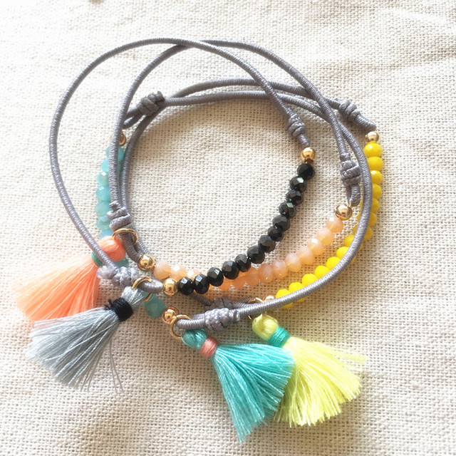 Dongmu jewellery handmade bohemian exaggerated fashion combination beaded elastic crystal ladies bracelet shell tassel