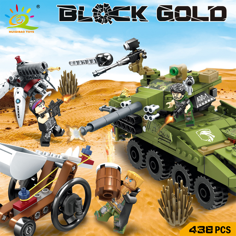 HUIQIBAO Toys Military Building Blocks Set DIY Tank Armed Army Soldier Figures Bricks Compatible Legoe City Figures For Children