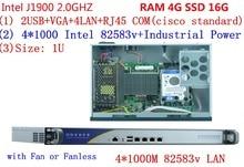 Four Lan ethernet Firewall Intel baytrail  community Safety Quad core Community server system With RAM 4G SSD 16G