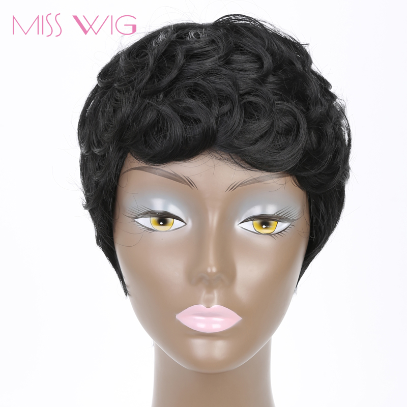 MISS WIG Short Black Pixie Cut Curly Hair Wigs for Black Women Afro Hair Synthetic Wigs High Temperature