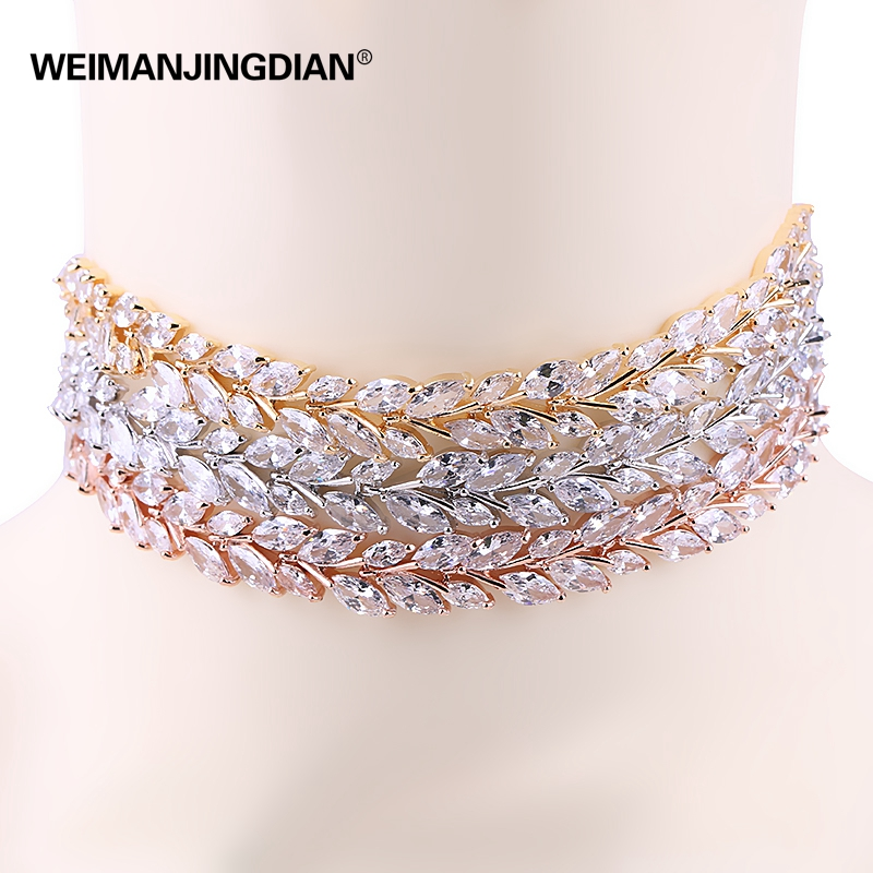 WEIMANJINGDIAN New Arrival Leaf Design Sparkling Cubic Zirconia CZ Zircon Choker Necklaces for Women