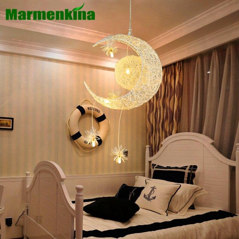 Marmenkina New Novelty Kid Children Room Light With 5*G4 LED Modern Pendant Light Lamp for Home Moon Star Wicker Lamp AC110-240V kid s room lighting modern fashion moon