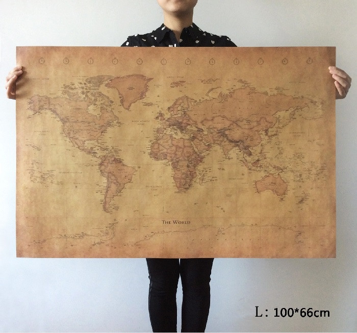 choose size the old world map huge large vintage style retro paper poster home wall decoration. Black Bedroom Furniture Sets. Home Design Ideas