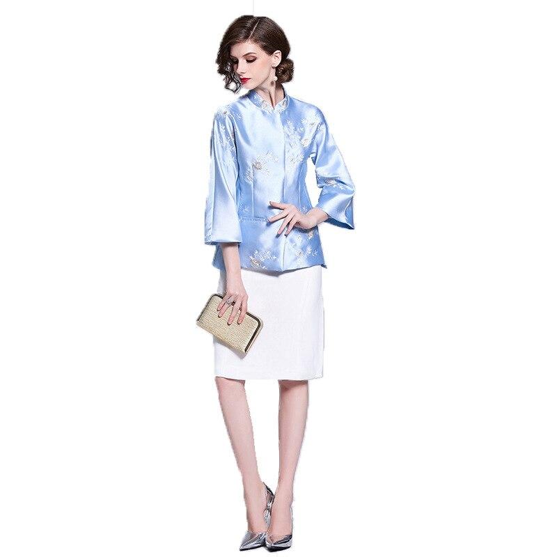 Women's Windbreaker Autumn New Chinese Style Floral Embroidery Tang Suit Jacket Short Windbreaker Women's Jacket
