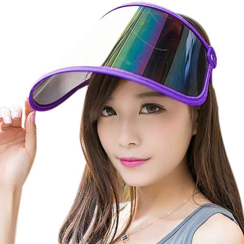 女性夏空のトップ太陽バイザー帽子虹プラスチックパネル UV 保護調節可能な角度大型ワイドつばオートバイビーチキャップ