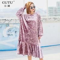 GUTU Large Size Autumn Korean Dress 2017 Fashion Loose Embroidery Stitching Ruffles Round Collar Full