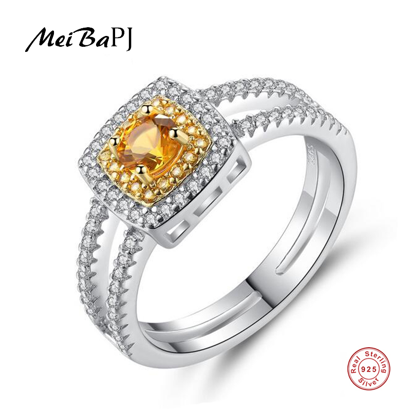 [MeiBaPJ]Real S925 Sterling Silver Yellow Stone Square Ring for Women Charm AAA Zircon Fine Party Jewelry
