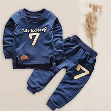 2-5years old  Kids Baby Boys Girls  Casual Sets  2 pieces  T-shirt Tops Pants Clothes Set Navy blue