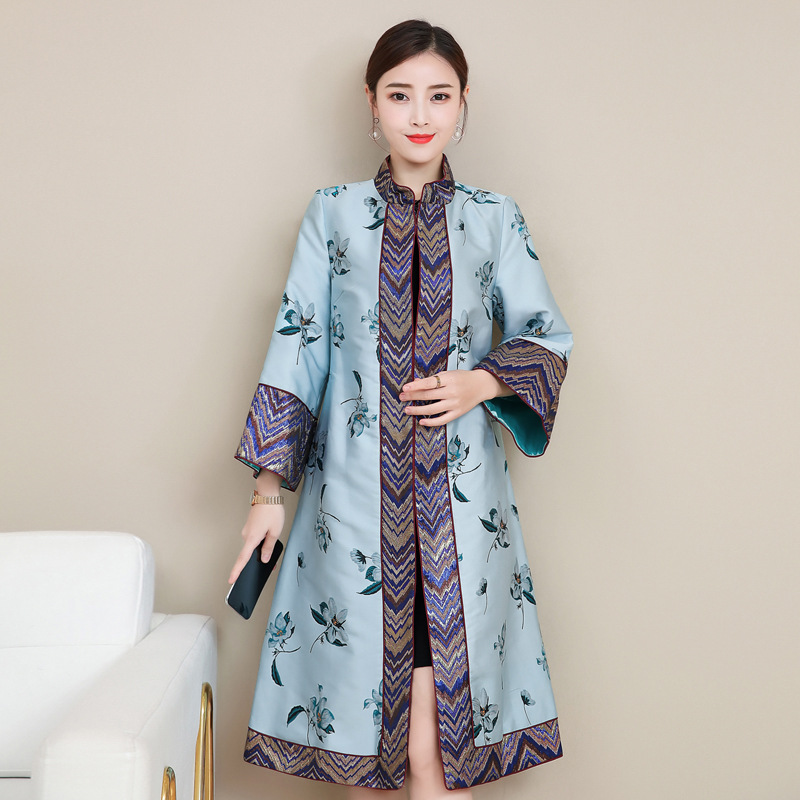 Autumn winter Women's clothing improved Tang style women's coat vintage printed flare sleeves Qipao jacket Chinese style tops